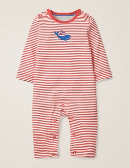 Ivory/Jam Red Whale Whales Appliqué Romper