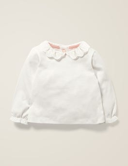 Ivory Broderie Collar T-Shirt