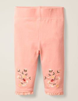 Chalky Pink Floral Floral Embroidered Leggings