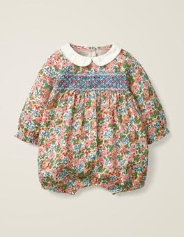 Smocked Printed Romper