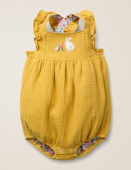 Mellow Yellow Embroidery Frilly Embroidered Romper