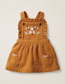 Butterscotch Brown Embroidery Floral Embroidered Pinafore