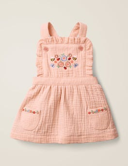 Provence Dusty Pink Embroidery Floral Embroidered Pinafore
