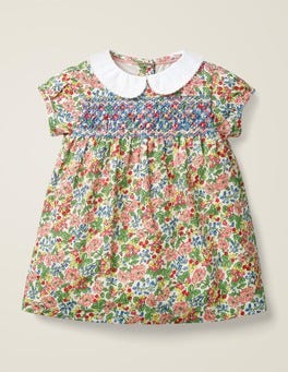 Chalky Pink Flower Berry Smock Dress