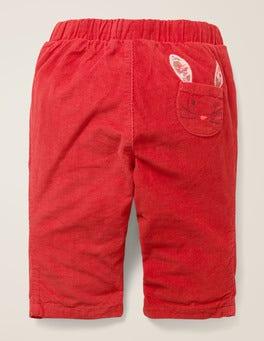 Carmine Red Bunny Slim Cord Pants