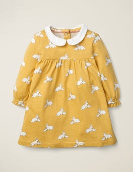 Mustard Yellow Baby Bunnies Collared Jersey Dress