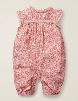 Chalky Pink Ditsy Floral Pretty Woven Romper