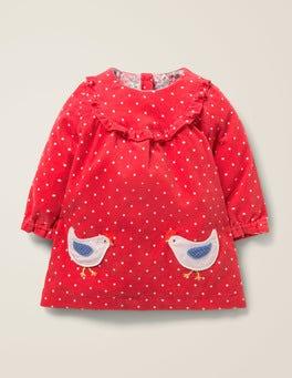 Carmine Red Chickens Ruffle Trim Dress