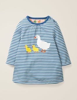 Ivory/Elizabethan Blue Ducks Reversible Dress