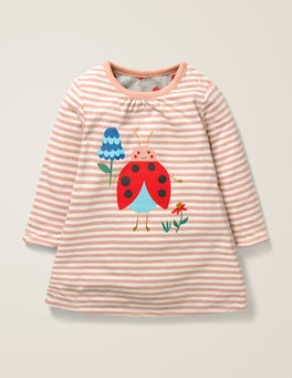 Ivory/Chalky Pink Ladybug Reversible Dress