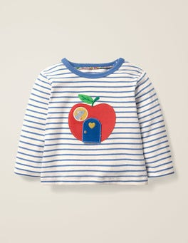 Ivory/Elizabethan Blue Apple Novelty Animal T-Shirt