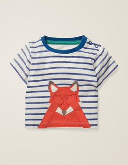 Ivory/Starboard Blue Fox Novelty Animal T-Shirt