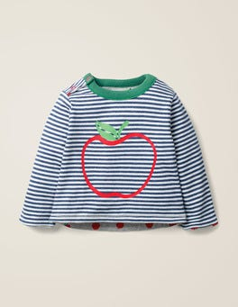 Ivory/Starboard Blue Apple Reversible Printed T-Shirt