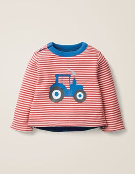 Ivory/Poppadew Red Tractor Reversible Printed T-Shirt