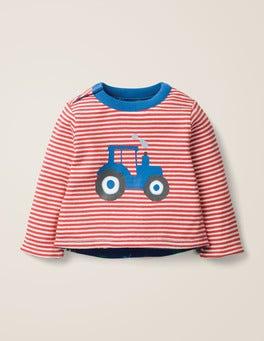 Naturweiß/Paprikarot, Traktor Gemustertes Wende-T-Shirt