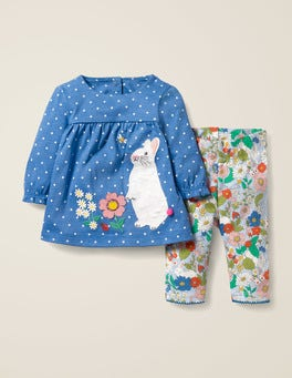 Elizabethan Blue/Ivory Bunny Applique Jersey Dress Set