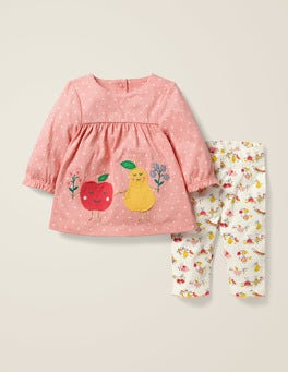 Kreiderosa/Naturweiß, Obst Jerseykleid-Set mit Applikation