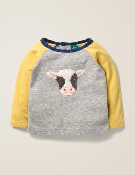Grey Marl Cow Farmyard Friends T-Shirt