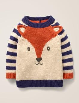 Segelblau, Fuchs Pullover mit Fuchsmotiv
