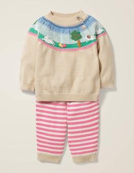 Ecru Marl Bunnies Knitted Play Set
