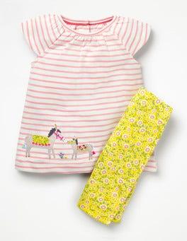 Shell Pink/White Donkeys Big Animal Appliqué Dress Set