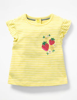 White/Primrose Yellow Summer Appliqué T-shirt