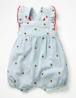 Provence Blue Strawberries Embroidered Romper