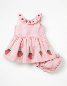 Shell Pink Strawberries Strawberry Appliqué Dress