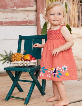 Flowery Smocked Woven Dress