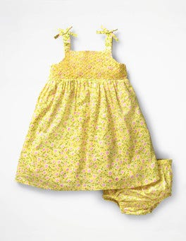 Sunshine Yellow Primrose Flowery Smocked Woven Dress