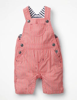 Beam Red Ticking Stripe Woven Overalls