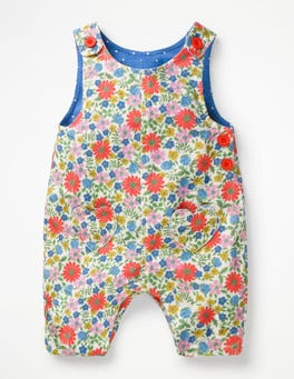Multi Jolly Floral Heart Pocket Overalls