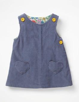 Violettes Grau Cordkleid mit Tasche