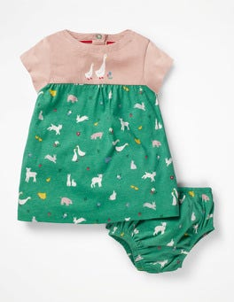 Jungle Green Farm Animal Jersey Dress