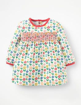 Multi Baby Flower Patch Smocked Jersey Dress
