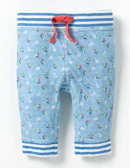 Light Sky Blue Vintage Cherry Supersoft Reversible Trouser