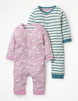 Delphinium Pink Wild Bunnies Pretty Twin Pack Rompers