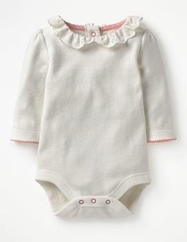 Ivory Broderie Supersoft Collared Bodysuit