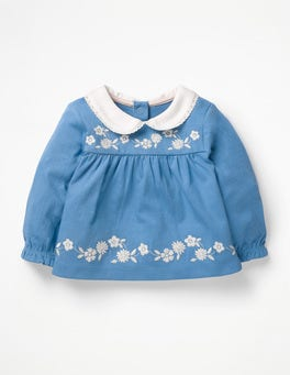Elizabethan Blue Embroidered Smock Top