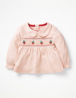 Parisian Pink Embroidered Smock Top