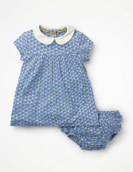 Ivory Daisy Dot Jersey Collared Dress
