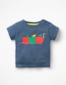 Lagoon Blue Apples Fun Printed T-shirt