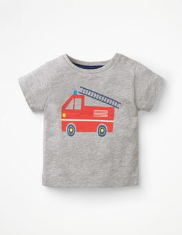 Grey Marl Fire Engine Fun Printed T-shirt