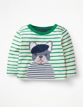 Ivory/Astro Green Bulldog Big Appliqué T-shirt