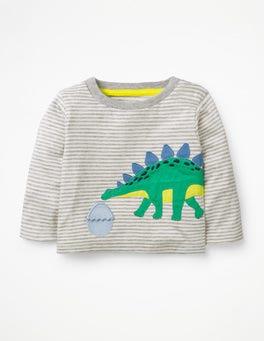 Ivory/Ecru Dinosaur Big Appliqué T-shirt