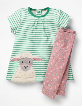 Ecru/Jungle Green Lamb Farmyard Dress Set