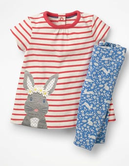 Ecru/Jam Red Bunny Farmyard Dress Set