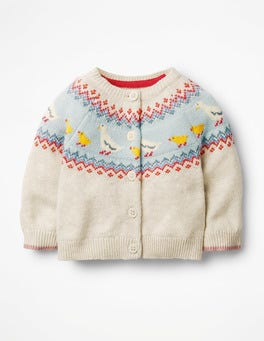 Ecru Fair Isle Ducks Fun Cardigan
