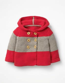 Beam Red/Grey Marl Hooded Knitted Jacket
