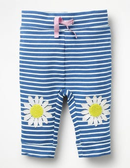 Ivory/Elizabethan Blue Daisies Fun Jersey Trousers